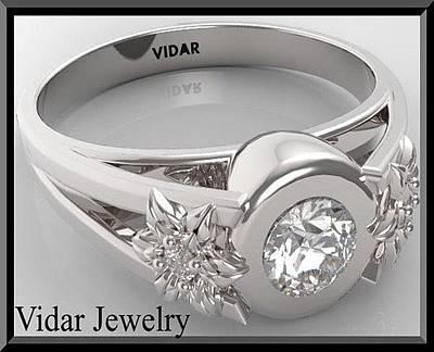 14k Jewelry - Unique Flower Diamond 14k White Gold Engagement Ring  by Roi Avidar