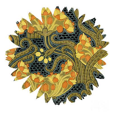 Gears Mixed Media - Unique Flower by Ramneek Narang