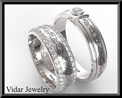 14k Jewelry - Unique His And Hers Matching Diamond And 14kt Gold Wedding Band Set by Roi Avidar