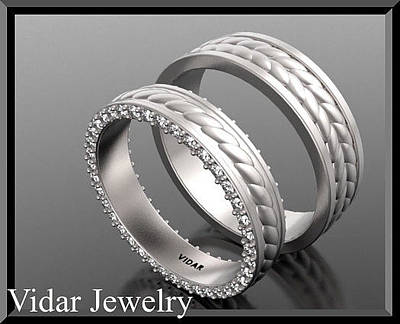 14k Jewelry - Unique His And Hers Matching Diamond And 14kt White Gold Wedding Band  by Roi Avidar