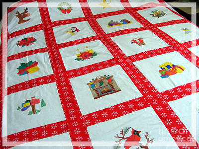 Home Made Quilts Tapestry - Textile - Unique Quilt With Christmas Season Images by Barbara Griffin