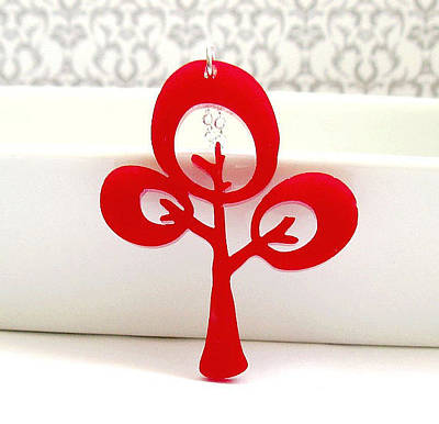 Perspex Necklace Jewelry - Unique Red Tree Pendant Necklace by Rony Bank