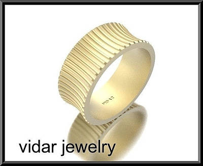 14k Jewelry - Unique Wide 14kt Yellow Gold Woman Wedding Ring by Roi Avidar