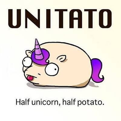 #unitato Half #unicorn Half #potato Art Print by Steven Griffin