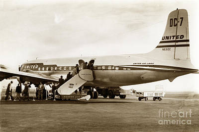 Photograph - United Air Lines Dc7 N6312c Circa 1955 by California Views Mr Pat Hathaway Archives