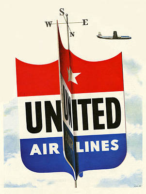 Airline Digital Art - United Airlines by Georgia Fowler