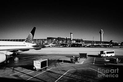 Airport Concourse Photograph - united airlines terminal O'Hare International airport Chicago Illinois USA by Joe Fox