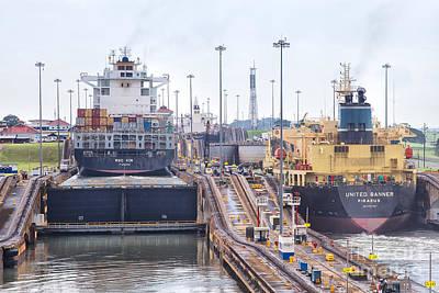 Photograph - United Banner Ship Gatun Locks Panama Canal by Rene Triay Photography