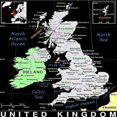 Mixed Media - United Kingdom Exotic Map by Florene Welebny