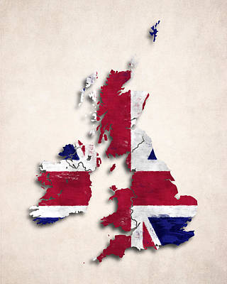 World Map Digital Art - United Kingdom Map Art With Flag Design by World Art Prints And Designs