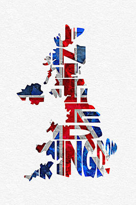 Abstract Map Mixed Media - United Kingdom Typographic Kingdom by Ayse Deniz