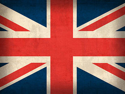 United Kingdom Union Jack England Britain Flag Vintage Distressed Finish Print by Design Turnpike