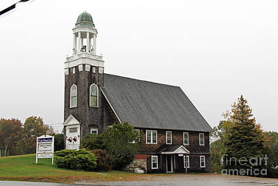 Watercolor Typographic Countries - United Methodist Church New Harbor Maine by Jack Schultz
