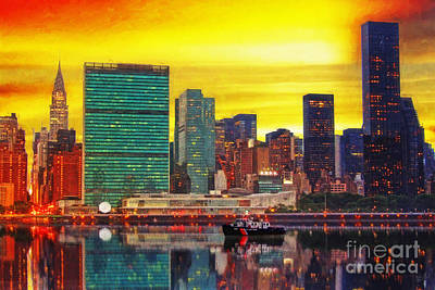 United Nations At Sunset Art Print by Nishanth Gopinathan