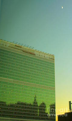 Photograph - United Nations Secretariat Building With Moon At Sunset by Miriam Danar
