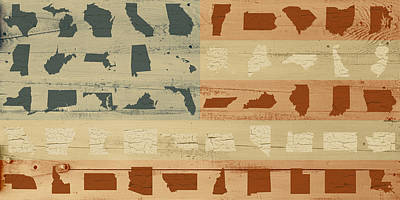 United Shapes Of America Painted Flag Wood Art Version Two Art Print by Design Turnpike