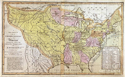 Cartography Painting - United States - 1819 by Pablo Romero