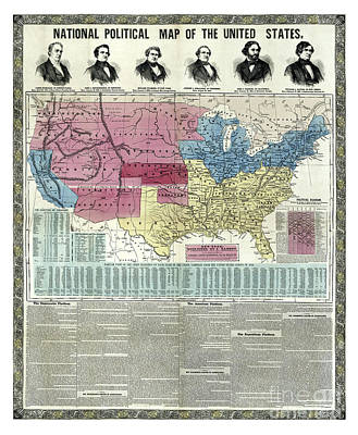 Old Map Painting - United States - National Political Map - 1856 by Pablo Romero