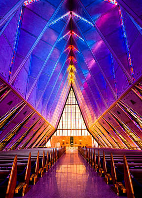 Stained Photograph - United States Air Force Academy Protestant Cadet Chapel by Alexis Birkill