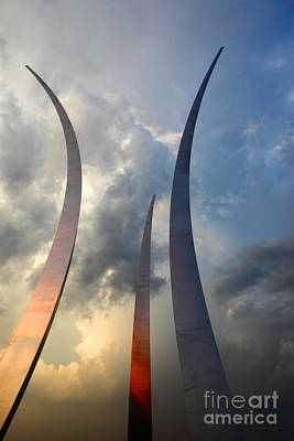 Missing Man Formation Photograph - United States Air Force Memorial At Sunset by James Brunker