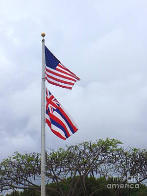 Photograph - United States And Hawaii Flags by Mary Deal