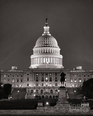 Senate Photograph - United States Capitol At Night by Olivier Le Queinec