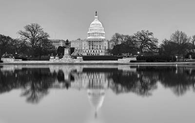 United States Capitol Building Bw Art Print by Susan Candelario
