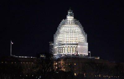 Photograph - United States Capitol Dome Scaffolding At Night by Cora Wandel