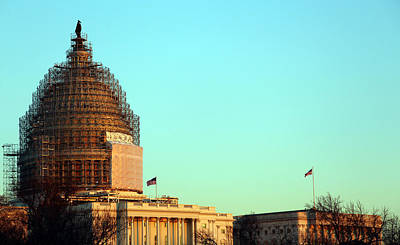 Photograph - United States Capitol Dome Scaffolding At Twilight by Cora Wandel