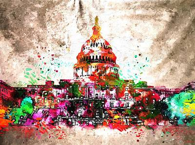 Capitol Building Painting - United States Capitol Grunge by Daniel Janda