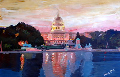 United States Capitol In Washington D.c. At Sunset Art Print by M Bleichner