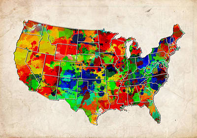 Painting - United States Colorful Map  by Bekim Art