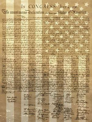 Politicians Mixed Media - United States Declaration Of Independence by Dan Sproul