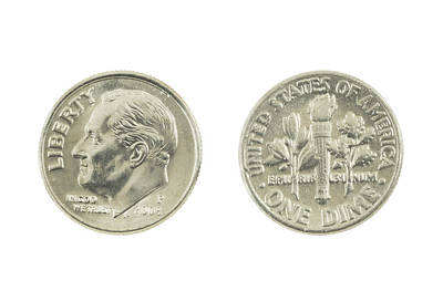 Photograph - United States Dime On White Background by Keith Webber Jr