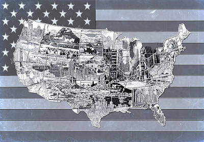 Liberty Painting - United States Flag Map 2 by Bekim Art
