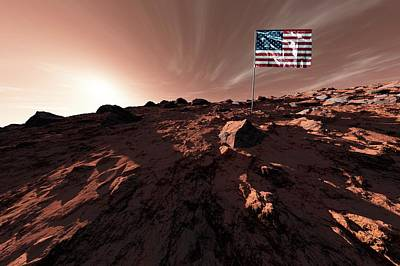 Outer Space Photograph - United States Flag On Mars by Detlev Van Ravenswaay