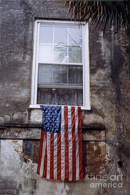 Photograph - United States Flag - Savannah Georgia Window  by Kathy Fornal