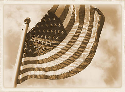 Photograph - United States Flag Sepia by MM Anderson