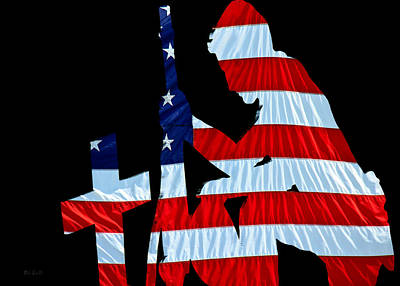 A Time To Remember United States Flag With Kneeling Soldier Silhouette Art Print by Bob Orsillo