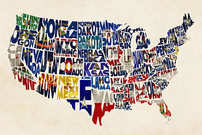 United States Flags Map Print by Ayse Deniz