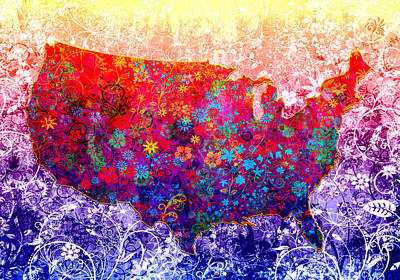 Painting - United States Floral Map 2 by Bekim Art