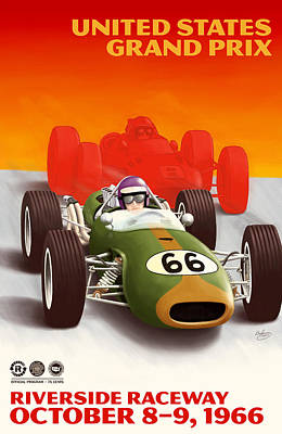 Icon Reproductions Digital Art - United States Grand Prix California 1966 by Georgia Fowler