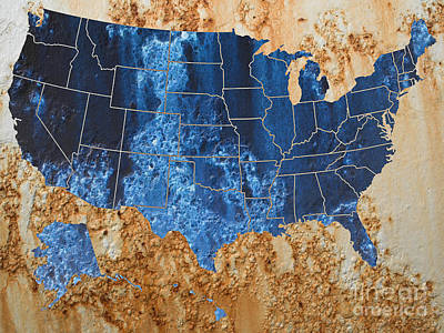 United States In Navy Blue And Rust Art Print by Paulette B Wright