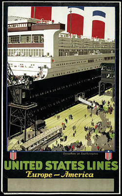 Ocean Liner Painting - United States Lines by Granger