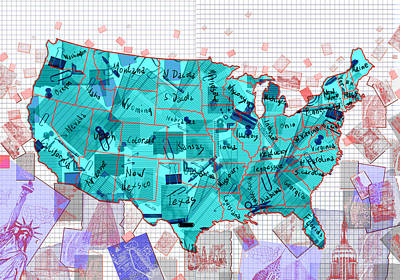 Painting - United States Map Collage 2 by Bekim Art