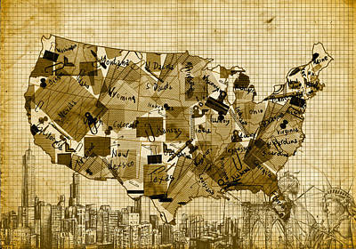 Drawing - United States Map Collage 4 by Bekim Art