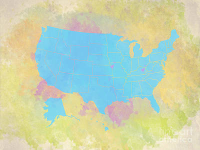 United States Map - Cyan And Watercolor Art Print by Paulette B Wright