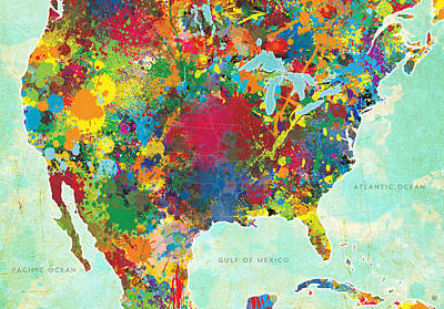 Abstract Map Digital Art - United States Map by Gary Grayson