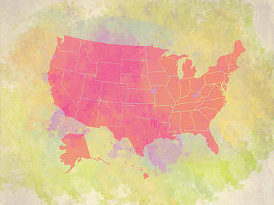 Digital Art - United States Map - Red And Watercolor by Paulette B Wright