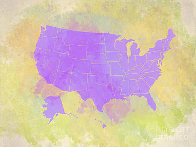 Digital Art - United States Map - Violet And Watercolor by Paulette B Wright